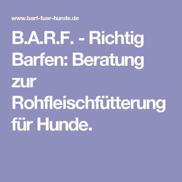B.A.R.F. - Richtig Barfen: Beratung zur Rohfleischfütterung für Hunde.