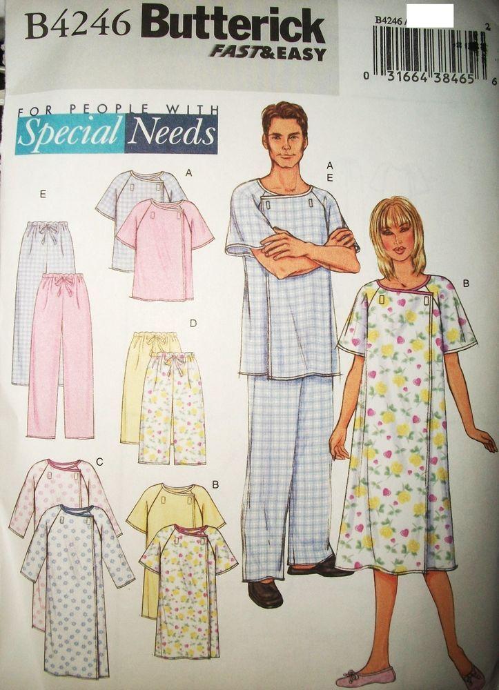 Unisex Miss Mens Butterick 4246 Pattern Hospital Gown Top Pants Velcro Sz 30-40 #Butterick