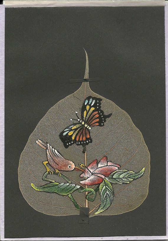 Flower Bird and Butterfly  Handpainted on a real by museumshop, $11.99  An original painting on leaf.  Collectible leaf art.  Start your collection today.