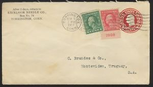 1917 Torrington Connecticut CT Cover to Montevideo Uruguay  Plate # Single Stamp