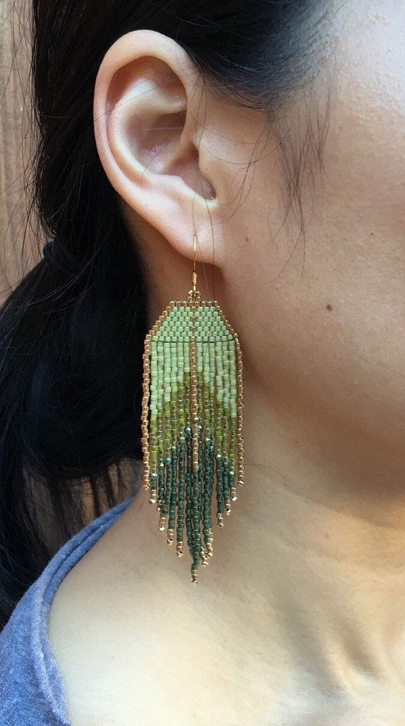 Klamath Lake Native American Earrings Fringe Earrings Beaded Earrings Seed Bead Earrings Boho Earrings Southwestern Gemstone Earrings