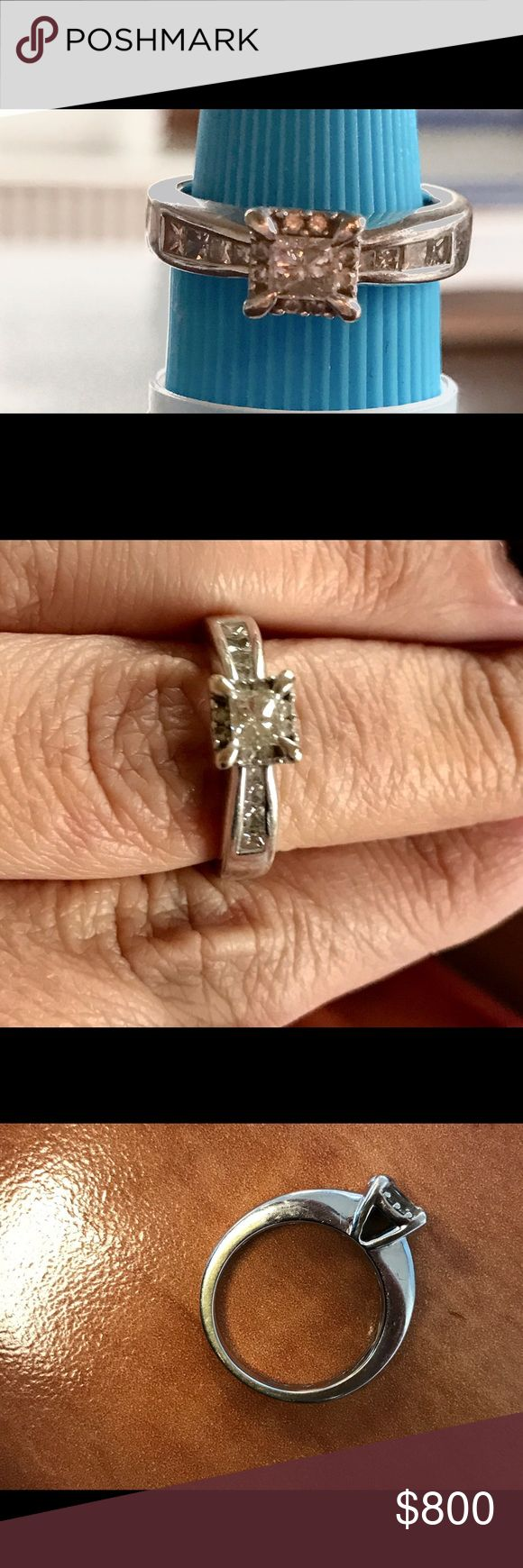 14k white gold engagement ring 14 k white gold 1 carat engagement ring with accent diamonds. Purchased in 2013 for $1800 at Jared. A very similar ring is $1900 now. Been cleaned in 2015 and we'll taken care of. Jewelry Rings