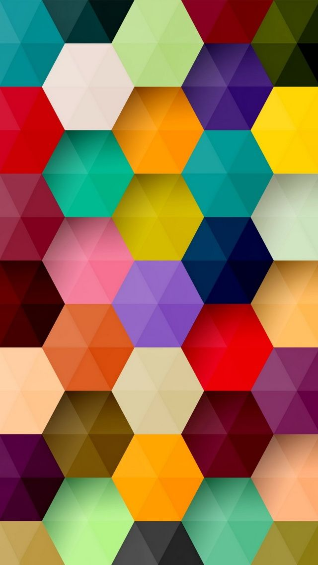 Colorful hexagons iphone wallpaper my iphone pinterest for Colourful wallpaper for walls
