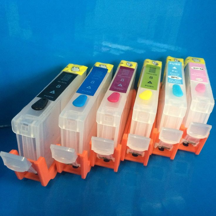 6 REFILLABLE EMPTY CARTRIDGES FOR CANON CLI-8 BK/C/M/Y/PC/PM