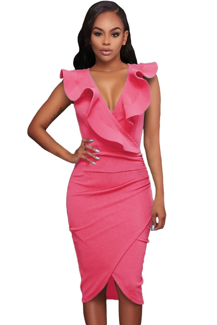Rosy Ruffle V Neck Bodycon Midi Dress