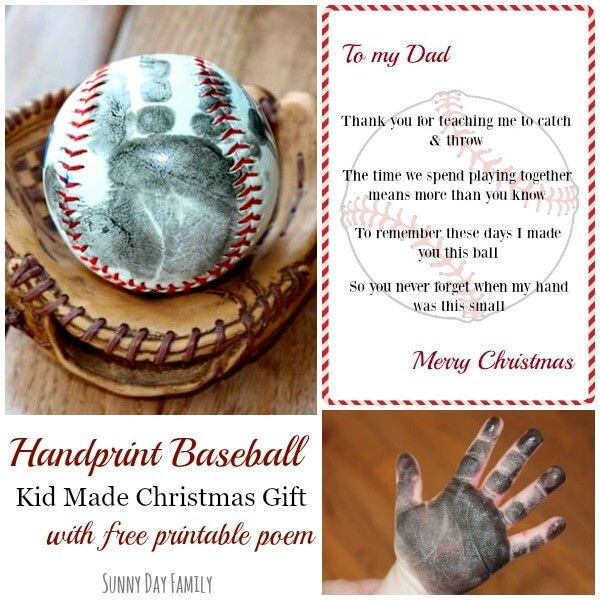 Handprint Baseball Kid Made Christmas Gift With Free Printable Poem