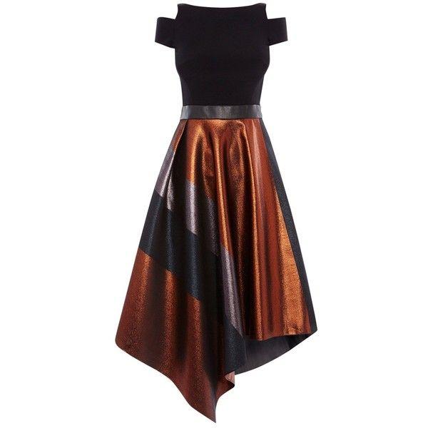 Coast Fran Metallic Stripe Dress, Multi (£169) ❤ liked on Polyvore featuring dresses, midi dress, maxi dresses, off shoulder maxi dress, long-sleeve mini dress and sleeveless maxi dress