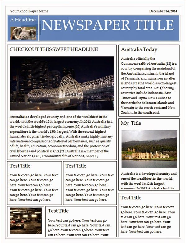 Free Newspaper Template template Pinterest Make your own