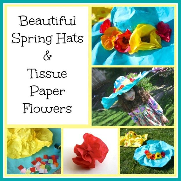 "Beautiful Spring Hats w/ Tissue Paper Flowers - I love this creative way of making a hat. This can be the ""new"" way to make an Easter bonnet. For seniors use a wig head form to mold the hat and then let them decorate them to show off their fashion style."