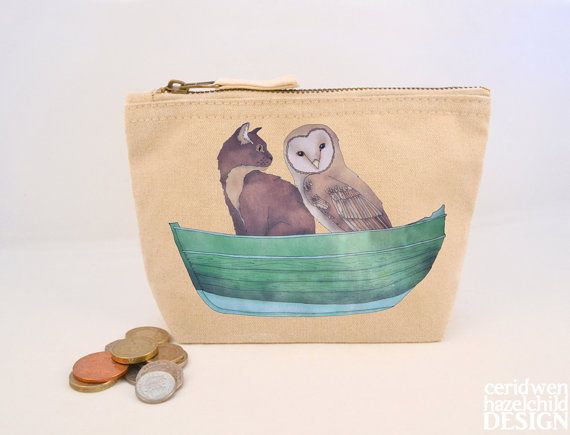Owl and Pussy Cat Canvas Zip Purse, Makeup Bag, Coin Purse, Small Accessory Pouch