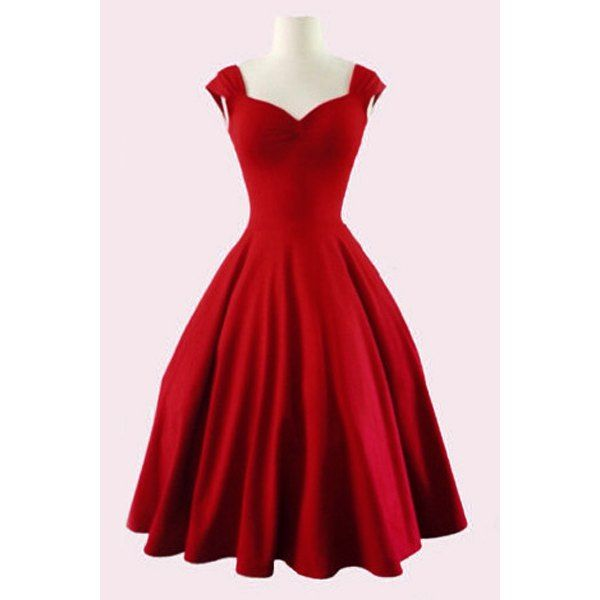 Retro Sweetheart Neck Solid Color Sleeveless Dress For Women (RED,2XL) in Vintage Dresses | DressLily.com