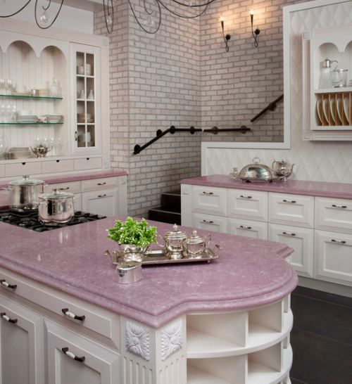 Downstairs Kitchen With Pink Countertops Home Design