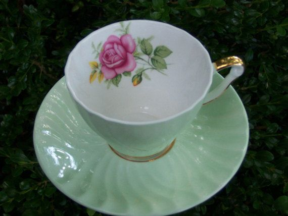 Tea Cup Yard Art Garden Decor - Mint Green Shabby Chic with Pink Roses. $14.00, via Etsy.