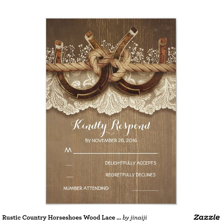 free templates for wedding response cards%0A Rustic Country Horseshoes Wood Lace Wedding RSVP Card