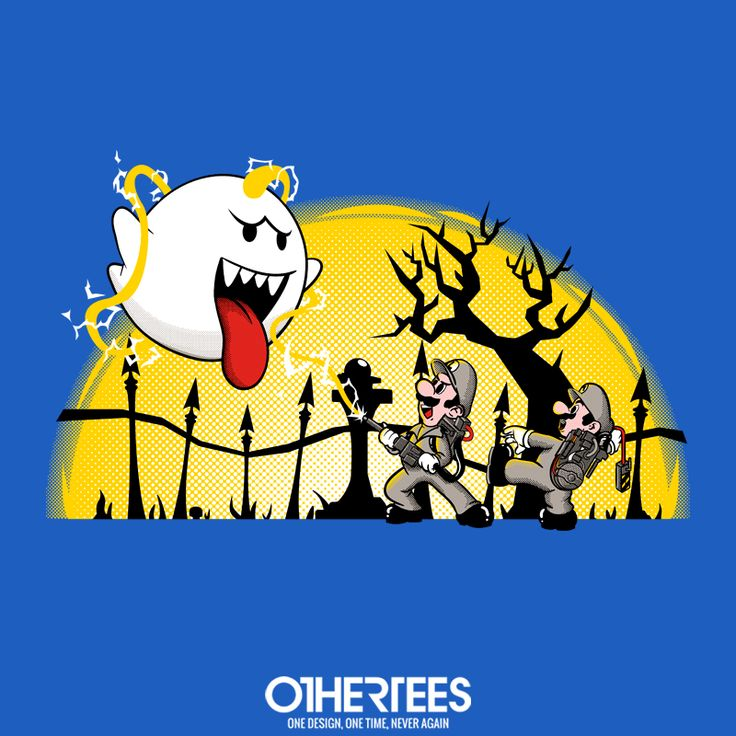 """Ghostbusters Bros"" by ItokoDesign T-shirts, Tank Tops, V-necks, Sweatshirts and Hoodies are on sale until February 13th at www.OtherTees.com #Ghostbusters #MarioBros #SuperMarioBros #Nintendo #OtherTees #Parody #games"
