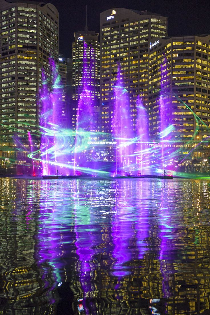 The Vivid Laser-Fountain Water Theatre at Darling Harbour has 20 water jets that reach more than 30 metres in height and 16 flame jets! #vividsydney lights on are at 6pm tonight! 18 Days Annually may - June  7th Festival 2015