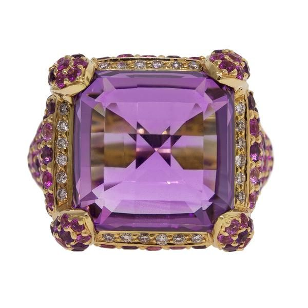 Rose De France Amethyst Ring -CR0540R- This precious ring is illuminated with 1 precious Rose de France Amethyst with a total carat weight of 15.45 and 24 Diamonds with a total carat weight of 0.17; 58 Amethysts with a total carat weight of 1.16; 94 pink Sapphires with a total carat weight of 1.97. Set in 18k yellow Gold 16.97g. Total carat weight of 152 gemstones, 18.58ct. •$7,040 ||Rasko.com