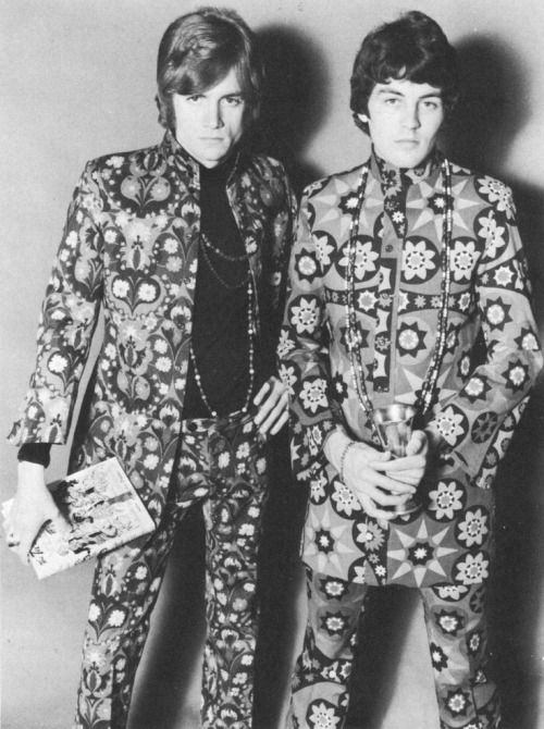 Justin Hayward from The Moody Blues and Ian Gillian from Episode Six (soon to be frontman of Deep Purple) modelling Carnaby Street fashion, 1967.