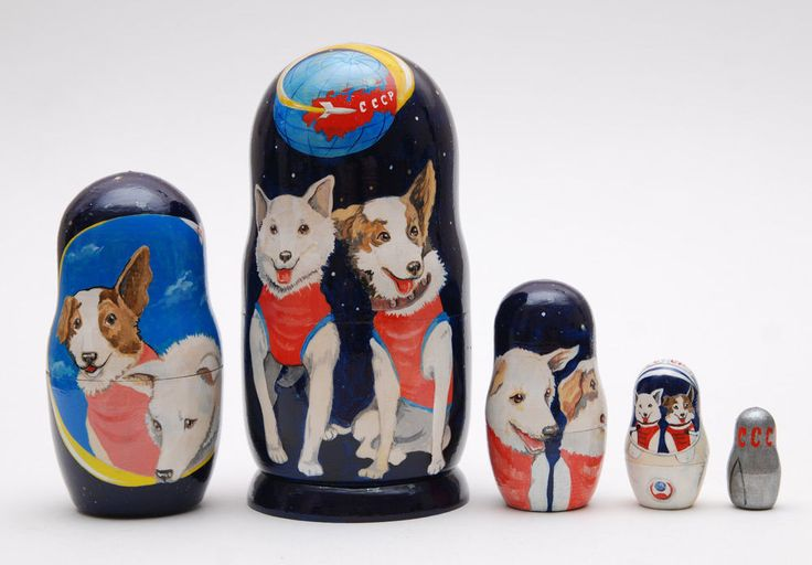5 in 1 Belka & Strelka Nesting Dolls Soviet Space Dogs Russian Matryoshka