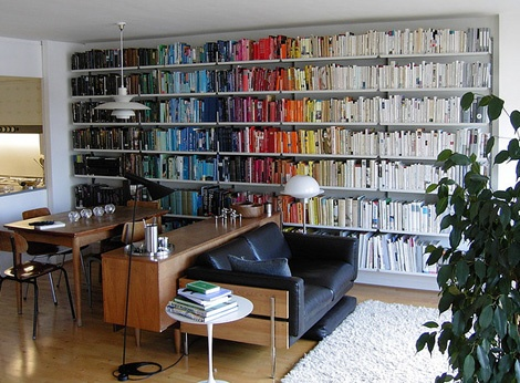 Living/dining inspiration - just love the colour coded books and of course the Louis Poulsen lights http://www.nest.co.uk/browse/brand/louis-poulsen