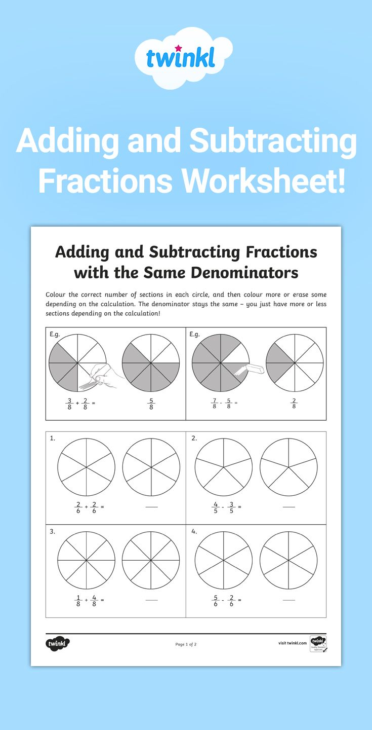 Adding And Subtracting Fractions With The Same Denominator Worksheet Adding And Subtracting Fractions Subtracting Fractions Fractions Worksheets Addition and subtraction calculations
