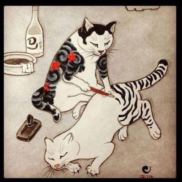 Cats painting stripes