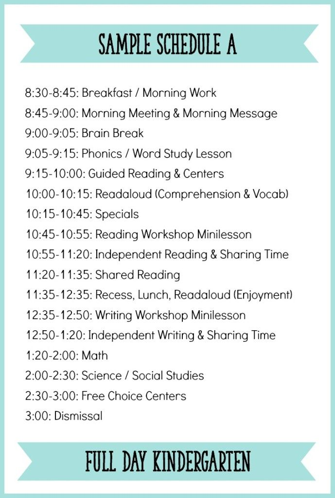 This is an example of what Kindergarten daily schedule can look like with a…