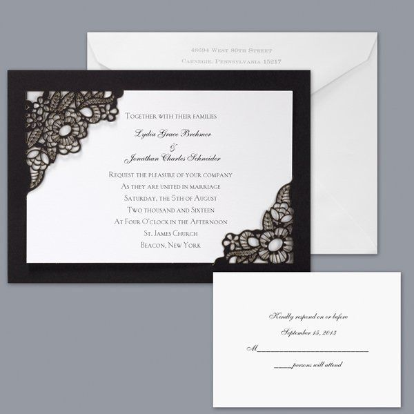 Romantic Black White Invitations by David's bridal Invitations Reply Cards Wedding Invitations Photos & Pictures - WeddingWire.com