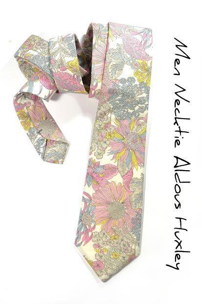 Wedding Mens Necktie Aldous Huxley  Pink yellow and by speaklouder, 57.00