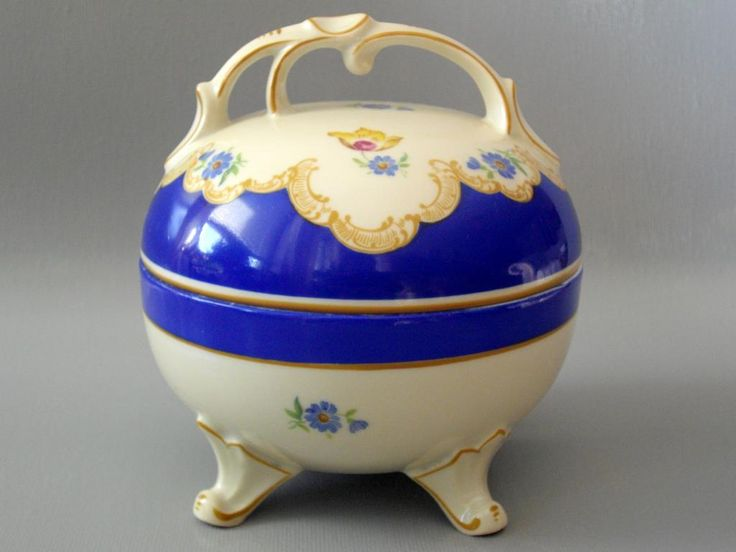 Bomboniera cukiernica porcelana ecru niebieska
