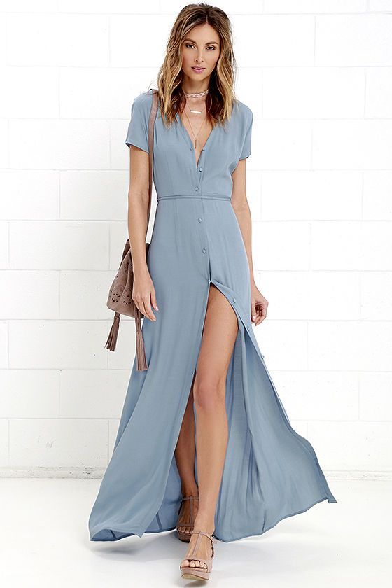 Life is beautiful, and it can be even more spectacular with numbers like the Glamorous Vida Bonita Dusty Blue Maxi Dress! Lightweight, gauzy poly fabric is formed to a short sleeve bodice, with V-neck, and full button placket. High waist (with attached belt loops) has a tying sash belt, atop the maxi skirt with front slit. As Seen On Natalie of @natamals!