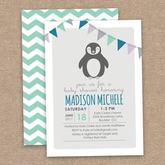 Penguin Baby Shower Invitation Gender Neutral by JessicasInvites