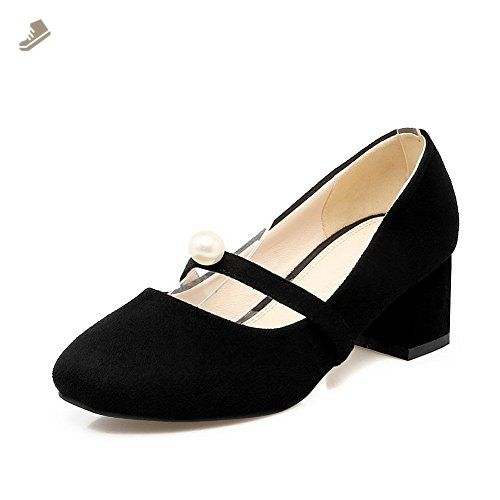 Womens Closed-Toe Beaded Solid Chunky Heels Low-Heel Microfiber Pumps Shoes