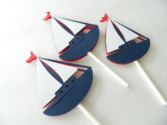 24 Sailboat Cupcake Toppers Nautical Cupcake Toppers by 2muchpaper