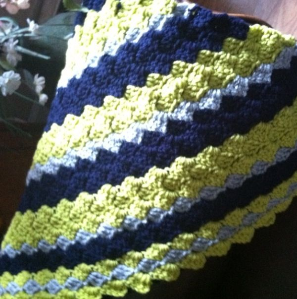 C2C crochet blanket Navy-Lime green-Light grey c2c ...
