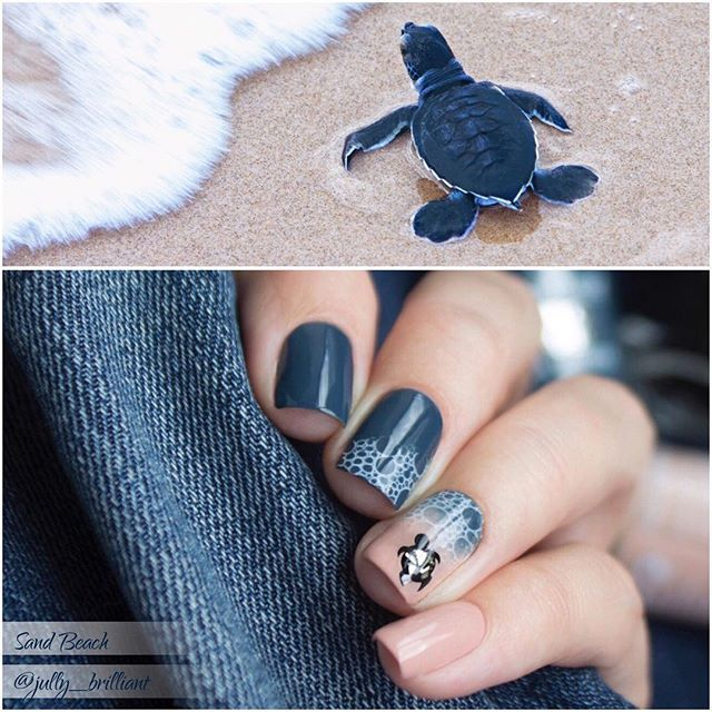 Sea and turtle nail art