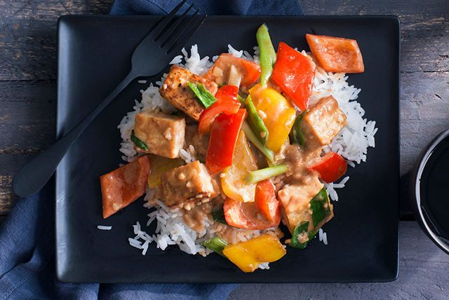 Our spicy peanut sauce is the perfect complement to the mild-flavoured tofu in this delicious vegetarian stir-fry.  Be sure to use extra-firm tofu when stir-frying.  Serve our Vegetarian Stir-Fry with Spicy Peanut Sauce with steamed rice.