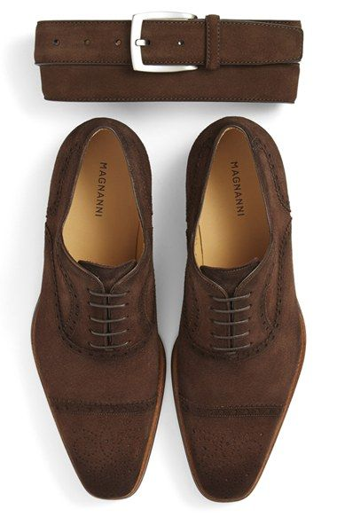 Magnanni Suede Belt & Cap Toe Oxford (Men) available at #Nordstrom