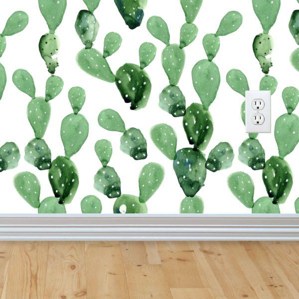 Self-adhesive Removable Wallpaper, Cactus Wallpaper, Peel and Stick Repositional Fabric Wallpaper, Custom Design Wall Mural