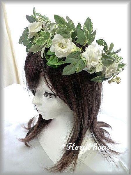 アーティフィシャルフラワー(造花)で花冠 ヘッドドレスをつくりました。直径が約5cmの薔薇をメインにつくりました。シンプルな色合いですのでドレスに合わせやす...|ハンドメイド、手作り、手仕事品の通販・販売・購入ならCreema。