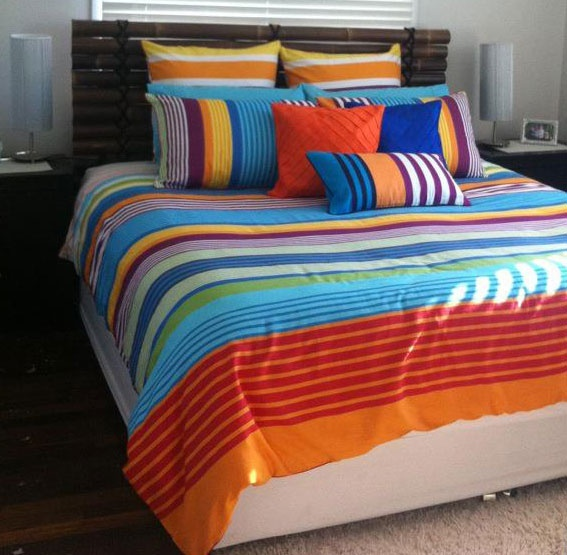 Bright colours are 'hot' right now. This Gemini design is perfect for a seaside home, the spare bedroom or men who want to make a good impression with the ladies ;) Pic thanks to Mandy Hudson.