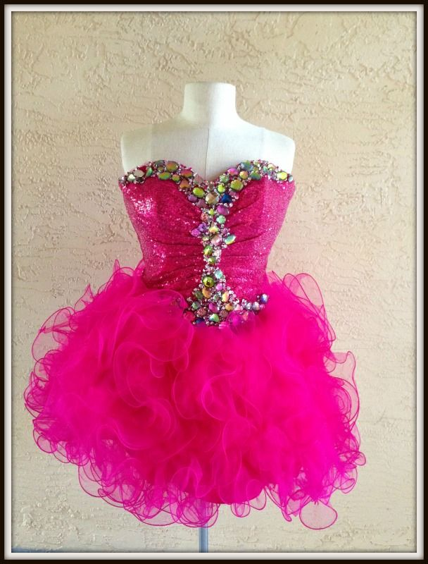 Sexy Pink Prom Dresses www.lizfaccion.com Fun and fabulous #prom #promdress #tulle #junior #cocktails #cocktaildress #weddings