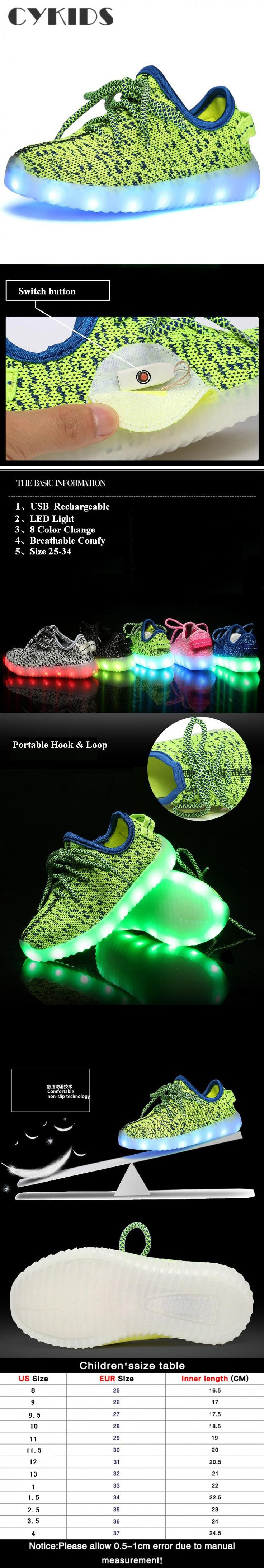 Nice Lace up Breathable USB Rechargeable LED lights Child Sneakers Shoes Fashion Boys Girls Spots Flat