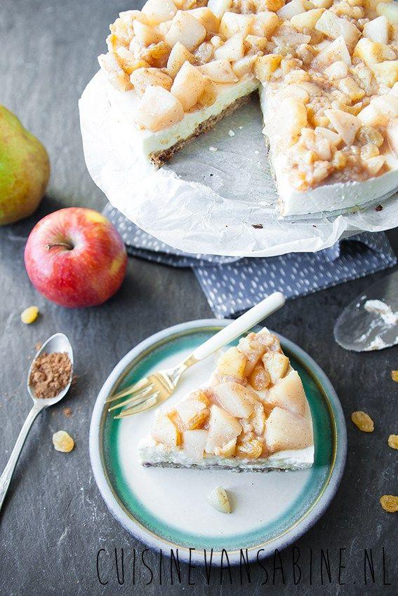 Gezonde yoghurttaart met appel & peer | Healthy yoghurt pie with apple & pear