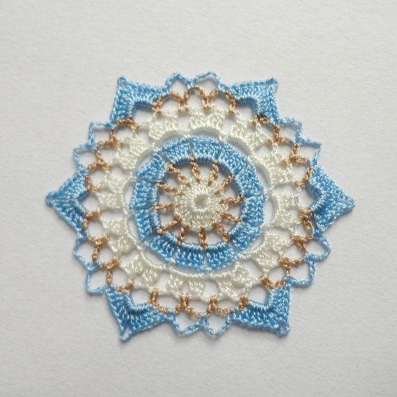 Miniature crochet doily in cream, brown and blue 3.5 cm by MiniGio