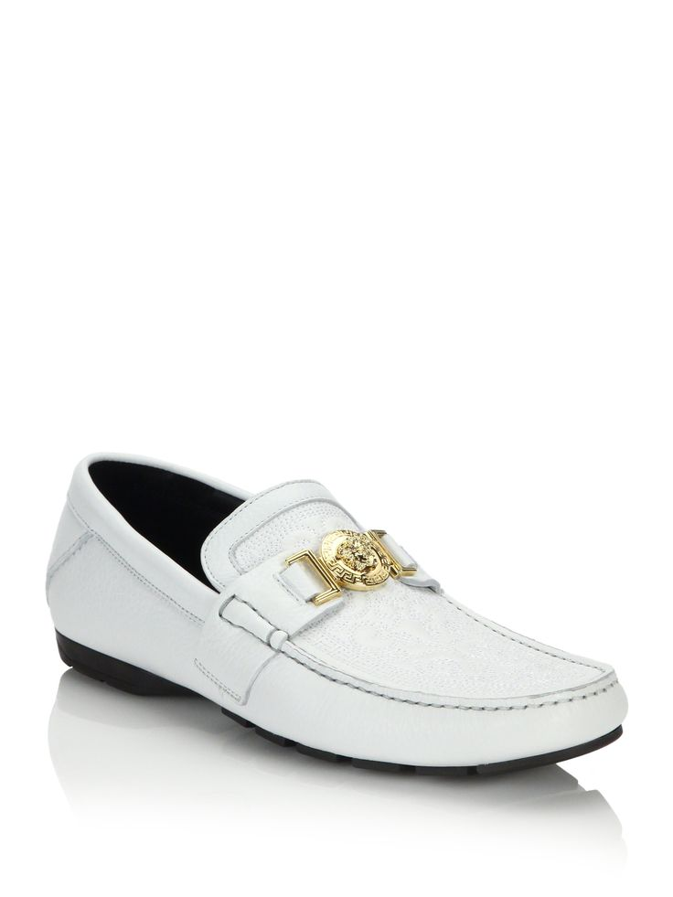Versace Men Shoes White with Gold | Versace Vanitas Stitched Leather Loafers in White for Men (white-gold)