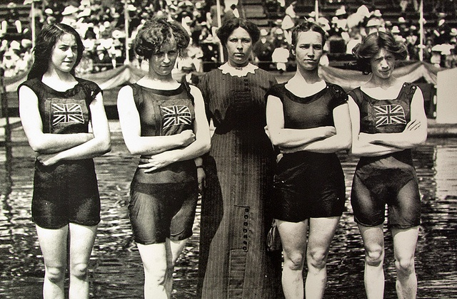 Team GB Women's Swimming, Olympic Games, London 1908    On display at the British Library, Olympex 2012 exhibition.  www.bl.uk/olympex2012