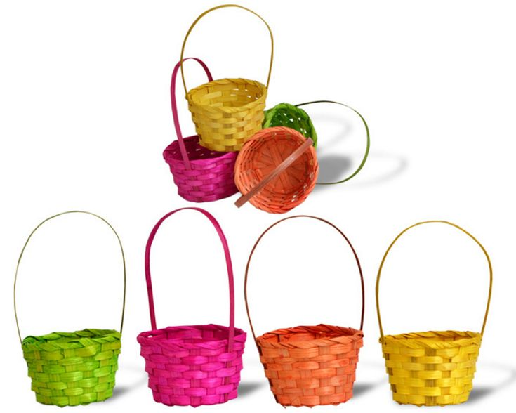 Wholesale Colourful Children Easter Decorations Weave Mini Bamboo Basket
