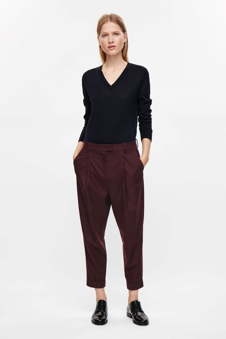 COS image 6 of Tapered trousers in Maroon