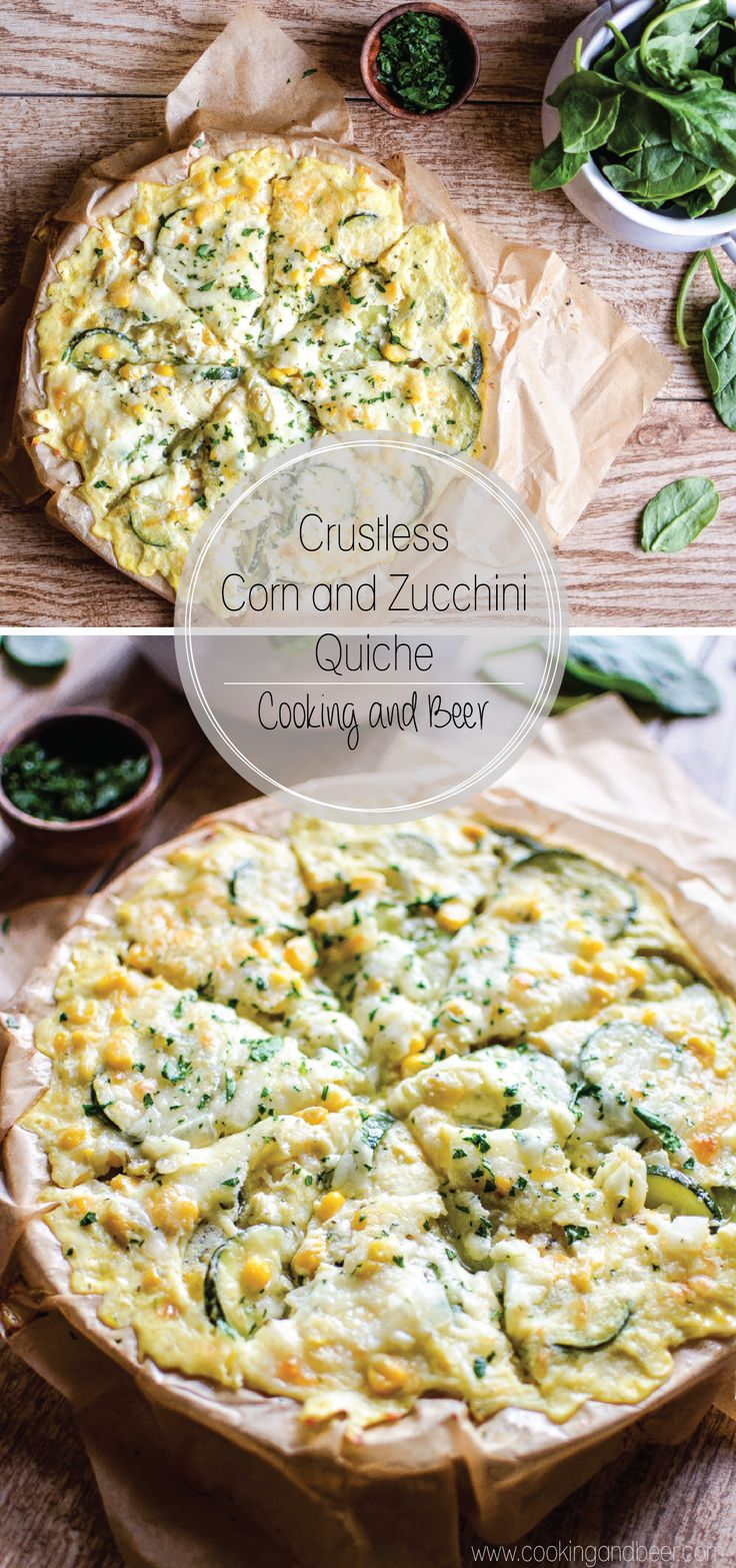 Crustless Corn and Zucchini Quiche: a quick and simple weeknight dinner or Sunday brunch recipe!  www.cookingandbeer.com